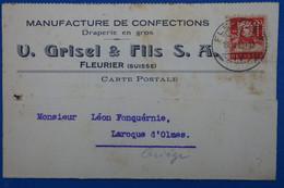 R11 SUISSE BELLE CARTE TIMBRE PERFORATED 1925 FLEURIER A LAROQUE FRANCE+ PERFORé + AFFRANCH PLAISANT - Perforadas