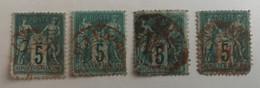 France 4 Belles Oblitérations Rouges Sur Sage - 1876-1898 Sage (Type II)