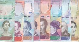 VENEZUELA 2 5 10 20 50 100 200 500 BOLIVARES 2018 P-NEW FULL UNC SET - Venezuela