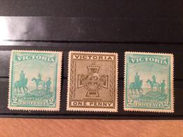 AUSTRALIA VICTORIA 1900 BOER WAR PATRIOTIC FUND Tow Pence X 2, One Penny - Ongebruikt