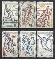TCHECOSLOVAQUIE    -   1963.   Y&T N° 1300 à 1305 Oblitérés.  JO De Tokyo.   Série Complète. - Gebraucht