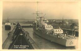 CROISEUR ALLEMAND KREZER KONIGSBERG LANCE EN 1927 ET COULE EN 04/1940 PORT DE BERGEN - Warships