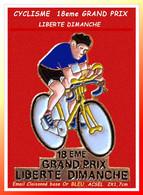 "PIN'S CYCLISME Peu Courant : Version Email Cloisonné Base Or, MAILLOT ""BLEU"" 1eme GRAND PRIX LIBERTE DIMANCHE 2X1,7cm - Ciclismo"