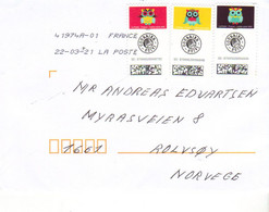 France Cover With Three Stamps With Owl  Cancelled 22.3.21 - Storia Postale