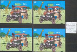NB - [107329]TB//**/Mnh-Republique Du Congo 2001 - BL205 (COB)/67 (YV), Tintin Au Congo, Les Blocs Dentelés Et Non Dente - Cómics
