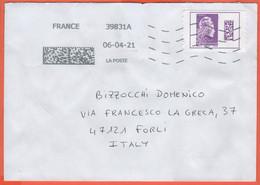 FRANCIA - France - 2021 - Marianne L'engagée International Avec QRCode - Viaggiata Da 39831A Per Forlì, Italy - 2018-... Marianne L'Engagée