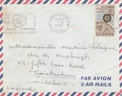 EUROPA YT 1522 SEUL SUR LETTRE AVION CARCASSONNE AUDE 7/9/67 POUR L ANGLETERRE - 1961-....
