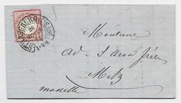 GERMANY 1 GROSCHEN LETTRE COVER BRIEF CACHET FER A CHEVAL STRASSBURG ELS 1872 POUR METZ MOSELLE - Alsazia-Lorena