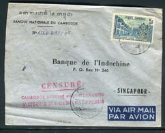 Cambodge - Griffe De Censure Sur Enveloppe Commerciale De Phnompenh Pour Singapour En 1970 - Ref A52 - Cambodja