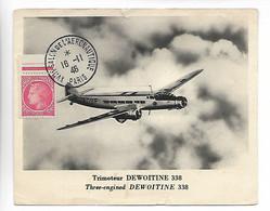 PARIS Salon De L'Aéronautique Sur Carte Trimoteur DEWOITINE 338    1946   ..G - Reuniones