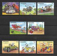 Disney Set Tanzania 1990 Classic Cartoon Automobiles MNH - Disney