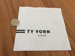 """Serviette Papier * """"TY VORN - Le Fournil"""" Pliée - Company Logo Napkins"""