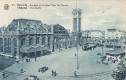 Belgique Oostende Ostende Gare Et Place Van Der Sweep Tram Tramway - Oostende