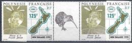 1990 POLYNESIE FRANCAISE 363A** Expo Nouvelle-Zélande, Carte, Kiwi, Tryptique - Nuovi