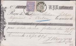 Belgique - COB 68 + 70 Sur Chèque Obl. Antwerpen Vers Virton - Cote ~90€ - 26/12/1894 - 1894-1896 Exhibitions