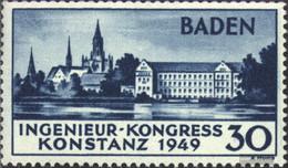 Franz. Zone-Baden 46I (complete Issue) With Hinge 1949 Constance - Französische Zone
