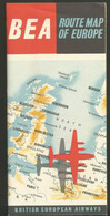 British European Airways BEA Dépliant Route Map Expo 58 World Airline - Timetables