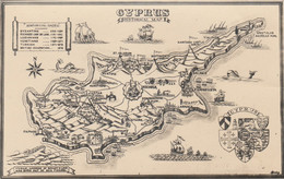 Cyprus Postcard Map Of Island Set Of Two - Cyprus