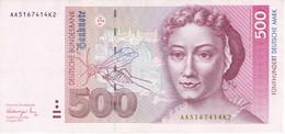 BILLETE DE ALEMANIA DE 500 MARK DEL AÑO 1991 EN CALIDAD EBC (XF)   (BANKNOTE) - 500 Deutsche Mark