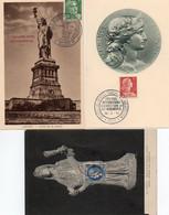 1V3 Cr  Lot De 2 Cartes Maximum 1956 Et 1943 + 1 Offerte Statue Liberté Et Marianne - 1950-59