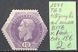 NB - [846386]B/TB//*/Mh-c:18e-Belgique 1871 - TG 3, 10c Mauve, Télégraphe - Telegrafo