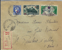 FRANCE - T.P. 487+502+503 S/L. Rec. De SAINT-VALLIER S/RHONE Du 15-10-1941 à SAINT RAMBERT D'ALBON - Cartas