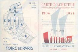 Vieux Papiers Carte D Acheteur Foire De Paris 1954 Tampon Hall Du Tapis 4 Pages 12x9 - Historische Dokumente