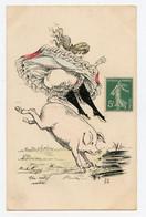 G. Mouton. Femme Chevauchant Un Cochon. érotique. Humoristique ( Thème Cochon). érotisme. Un Rétif Restive. ( N° 22 ) - Other Illustrators