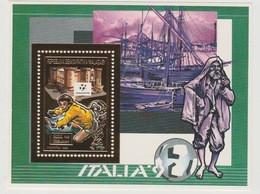 Madagascar Madagaskar 1989 / 1990 Mi. Bl. 122A FIFA World Cup Football Coupe Du Monde WM Gold Or - 1990 – Italia