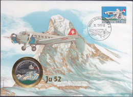 """CONGO REPUBLIC - 100 Francs 1995 """"JU52 Trimotor Airplane"""" KM# 21 Multicolored First Day Cover - Edelweiss Coins - Congo (Republic 1960)"""