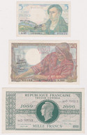 FRANCE, Lot Of 9 Banknotes 1943-1998 - Unclassified