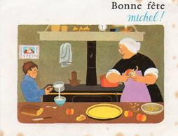 Carte Pub Des Albums Du PERE CASTOR - Par Flammarion - Liste Des Livres - Scan Du Verso -  Bonne Fête Michel - - Advertising