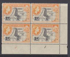 Nyasaland, Scott 100 (SG 176), MNH Plate Block - Nyasaland (1907-1953)