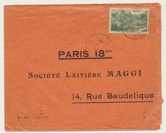 Enveloppe 1938 Sté Laitière MAGGI Paris 18ème - Timbre Vert 90 C Route Du Col De L'Iseran - 1921-1960: Période Moderne