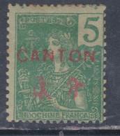 Canton N° 34 XX Surcharge Noire : 2 C. Lilas-brun Sur Paille Sans Charnière, Gomme Tropicale Sinon TB - Unused Stamps