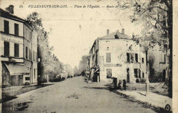 VILLENEUVE SUR LOT  Place De L' Egalité  Route De Fumel RV  T + Timbre Taxe 20c Chiffre - Villeneuve Sur Lot