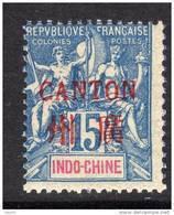Canton N° 7 XX Surcharge Carmin : 15 C. Bleu Sans Charnière, TB - Unused Stamps