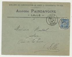 Enveloppe 1894 - France Type Sage 15 C De Donzère - LILLE Ateliers De Constructions De Ponts Et Charpentes En Fer - 1877-1920: Semi Modern Period