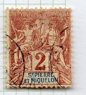 37CRT226 - ST PIERRE ET MIQUELON 1892 ,  Yvert N. 60 Usato. - Used Stamps