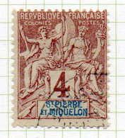 37CRT228 - ST PIERRE ET MIQUELON 1892 ,  Yvert N. 61 Usato. - Used Stamps