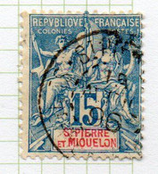 37CRT234 - ST PIERRE ET MIQUELON 1892 ,  Yvert N. 64 Usato. - Used Stamps
