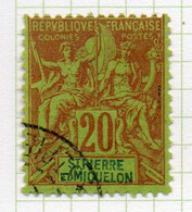 37CRT235 - ST PIERRE ET MIQUELON 1892 ,  Yvert N. 65 Usato. - Used Stamps