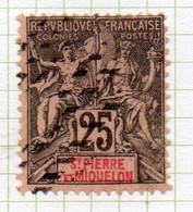 37CRT238 - ST PIERRE ET MIQUELON 1892 ,  Yvert N. 66 Usato. - Used Stamps