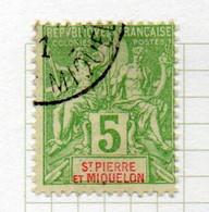 37CRT243 - ST PIERRE ET MIQUELON 1900 ,  Yvert N. 72 Usato. - Used Stamps