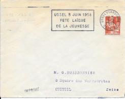 CORREZE -  USSEL - FLAMME N° USS 122 S_ USSEL 8 JUIN 1958 / FETE LAIQUE / DE LA JEUNESSE- TP  N° 1115 FRANCE - TARIF - Sellados Mecánicos (Publicitario)