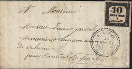 Taxe Carrée Timbre Taxe N°2 10ct Noir Senez Basses Alpes CAD Perlé T22 Barrême 28 8 82 Perlé Sur Timbre Taxe Rare - 1859-1955 Covers & Documents