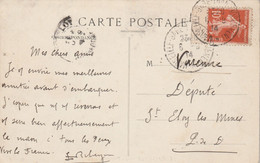 Yvert 138 Semeuse Cachet Transbordement MARSEILLE GARE 6/8/1914 Carte Postale Pour Député St Eloy Les Mines 63 - Bahnpost