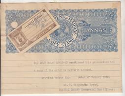 Govt., Of Madras /  Pudukkottai State Stamp Copy Used Stamp Paper, 3as Three Annas, British India KGVI - Other