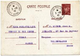 MARNE ENTIER CP 1F20 PETAIN 1942 REIMS EXPOSITION PHILATELIQUE REIMS => VILLEURBANNE - 1921-1960: Modern Period
