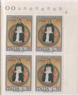 """Italia - 1974 - """"700° Della Morte Di San Tommaso D'Aquino"""" 1v In Quartina MNH** - 1971-80:  Nuevos"""